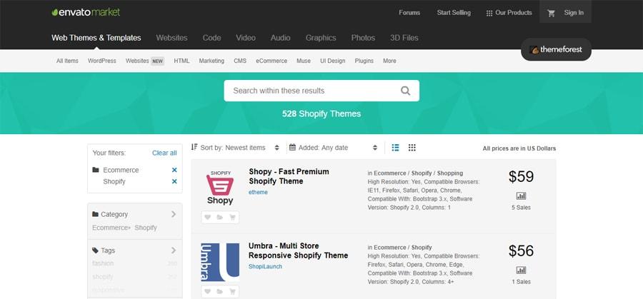 Shopify theme từ themeforest