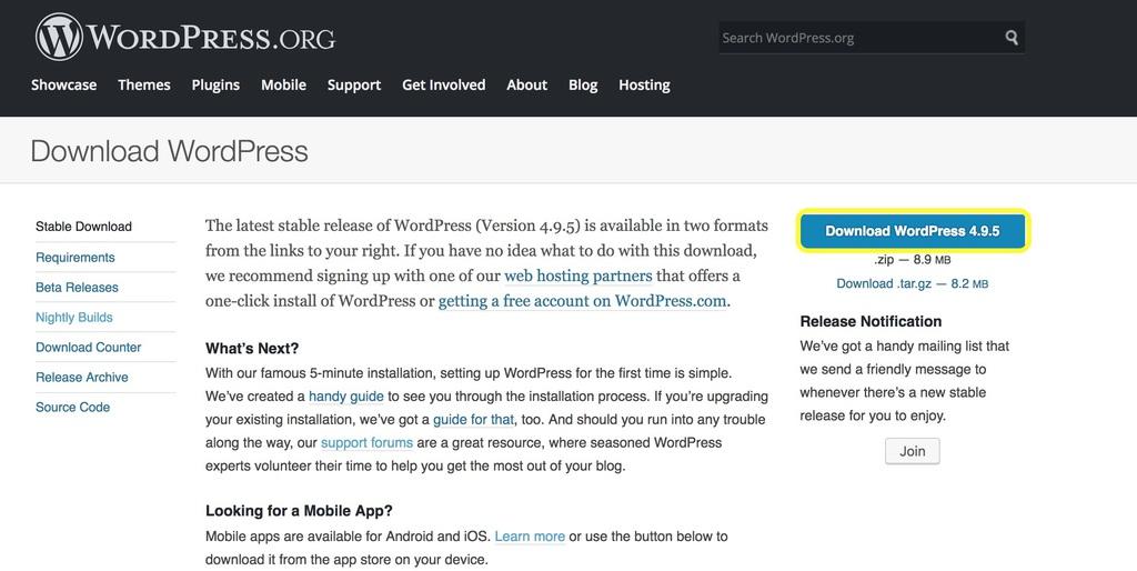 trang tải WordPress trên WordPress.org