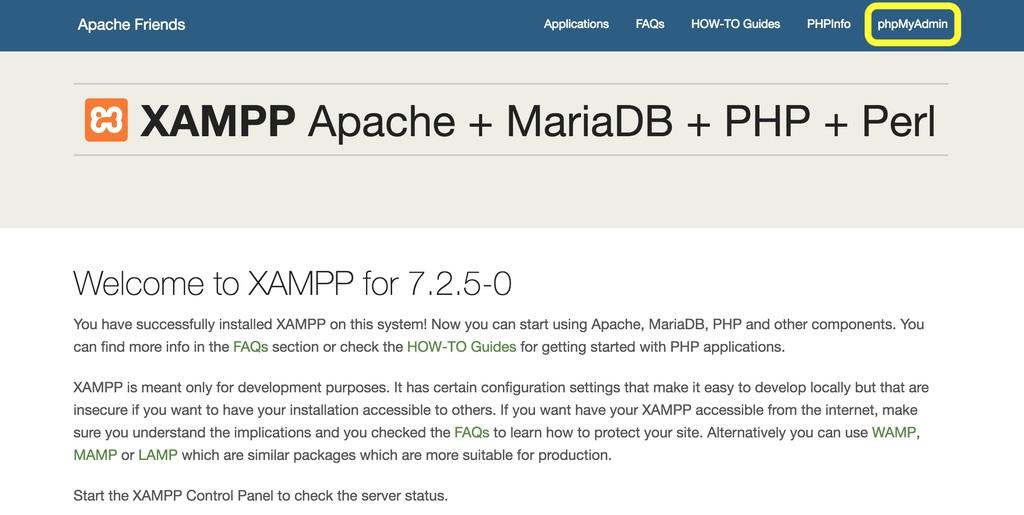 nút phpMyAdmin trên XAMPP Dashboard