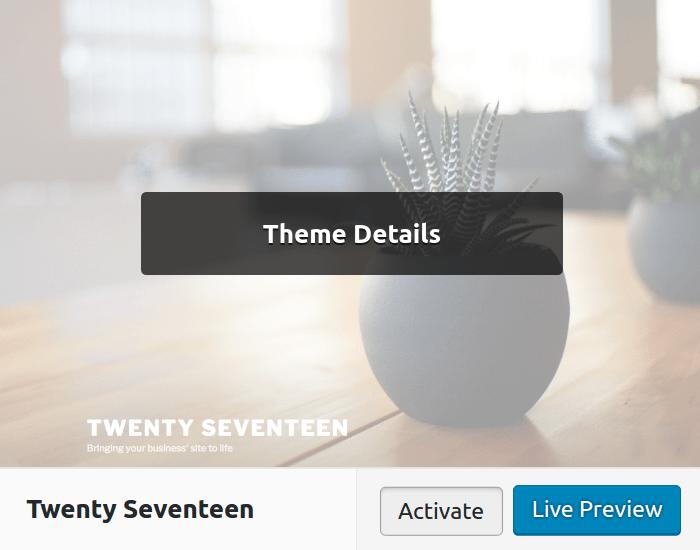 Kích hoạt theme WordPress mới qua Dashboard