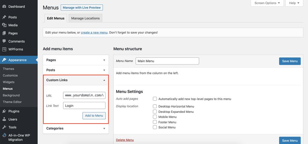 thêm nút login WordPress vào menu