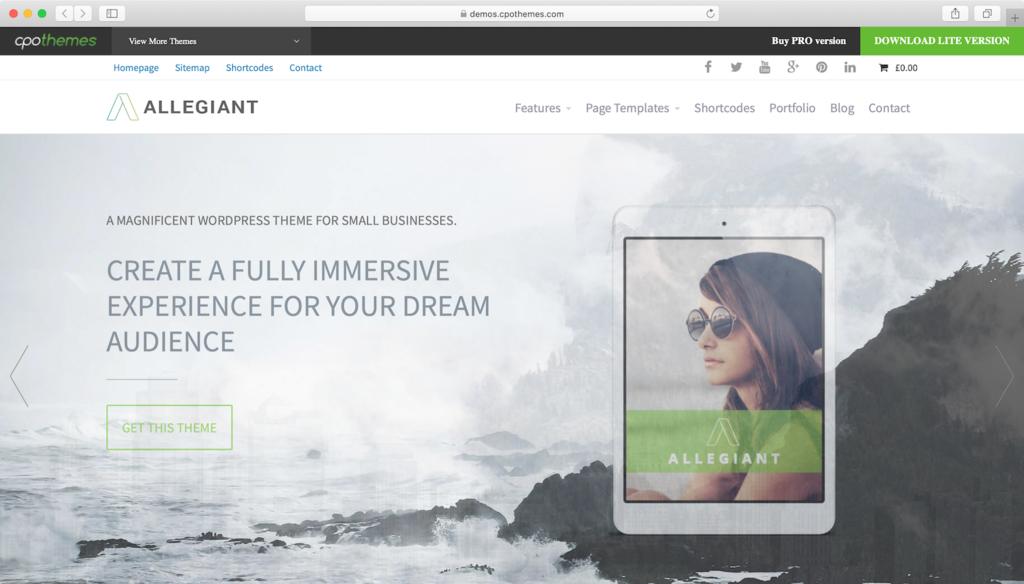 Allegiant WordPress theme.