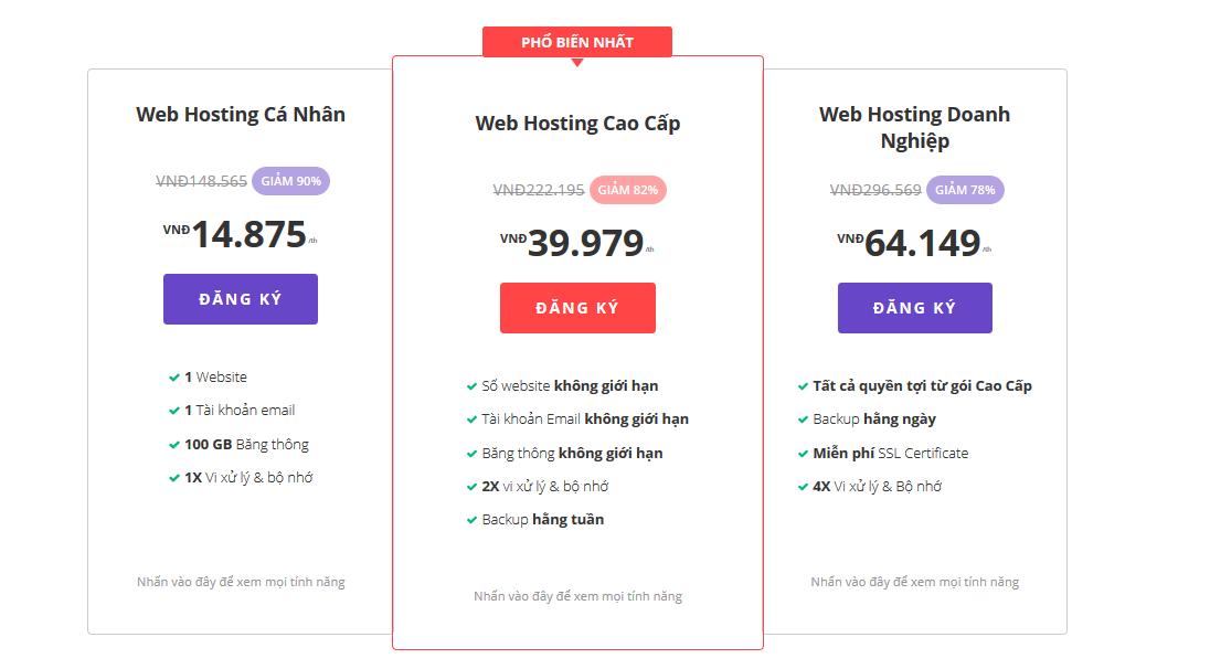 Bảng giá Hostinger