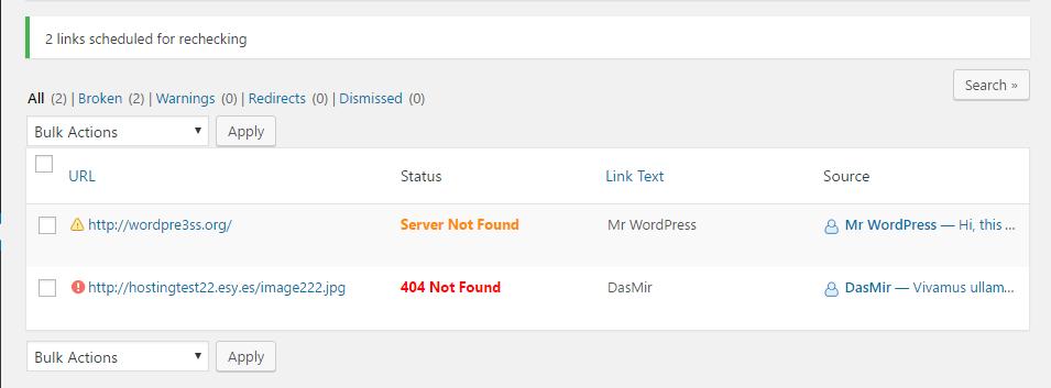 Broken Link List