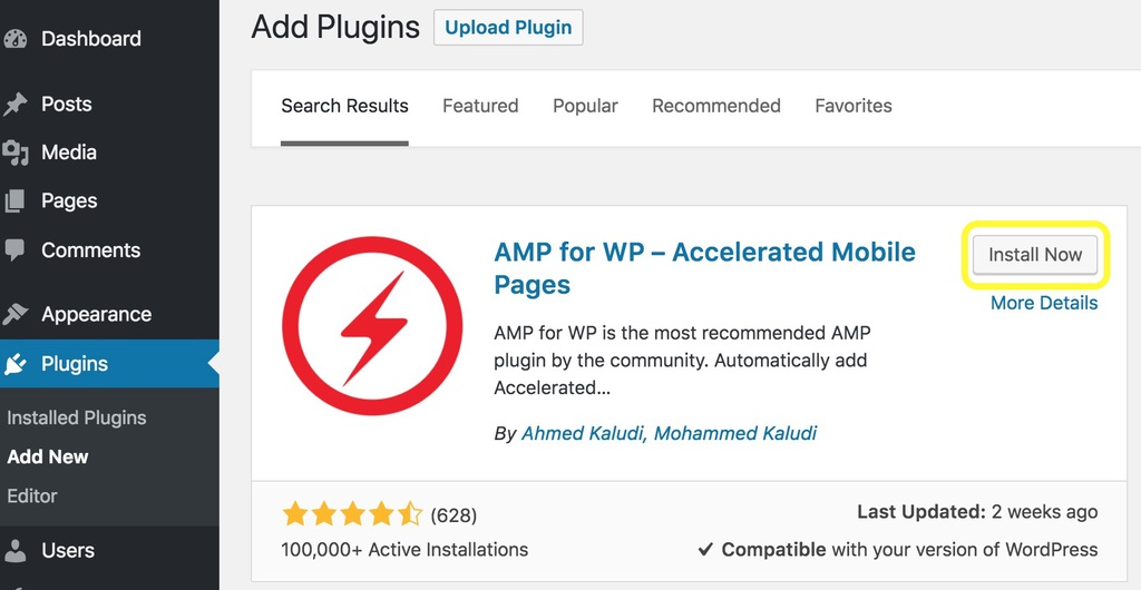 cài đặt WordPress plugin AMP for WP Accelerated Mobile