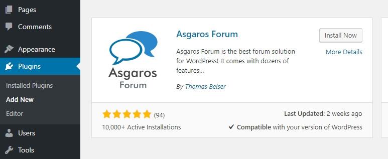 cài đặt plugin asgaros forum