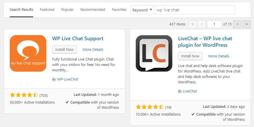 cài đặt plugin live chat