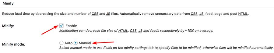 cài đặt w3 total cache minify