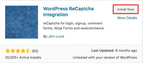 Cài đặt WordPress recaptcha