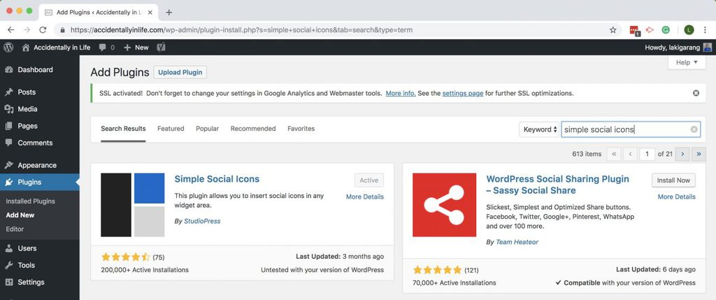 cài widget mạng xã hội simple social icon