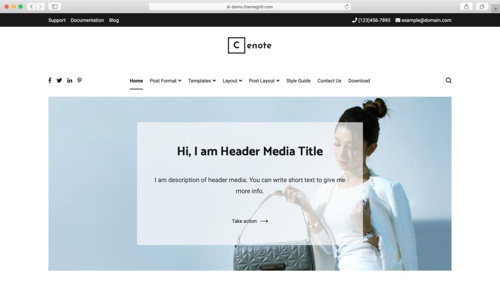 Cenote WordPress theme.