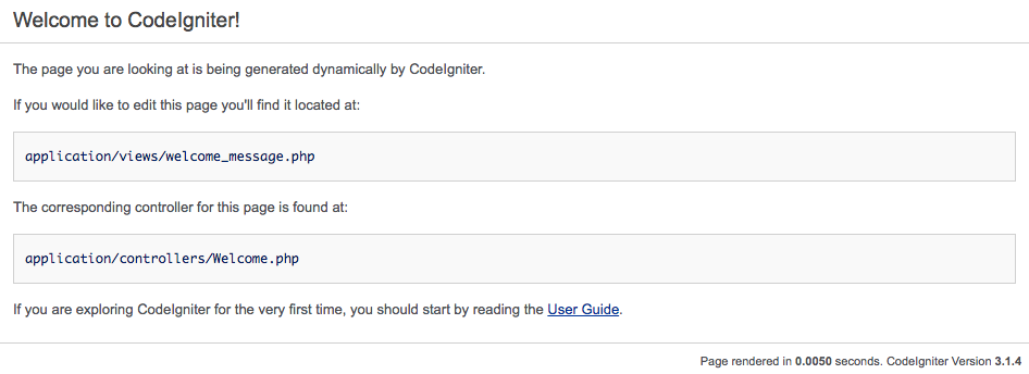 Màn hình chào mừng CodeIgniter