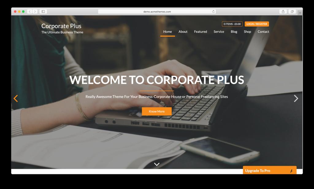 Responsive WordPress theme Corporate Plus