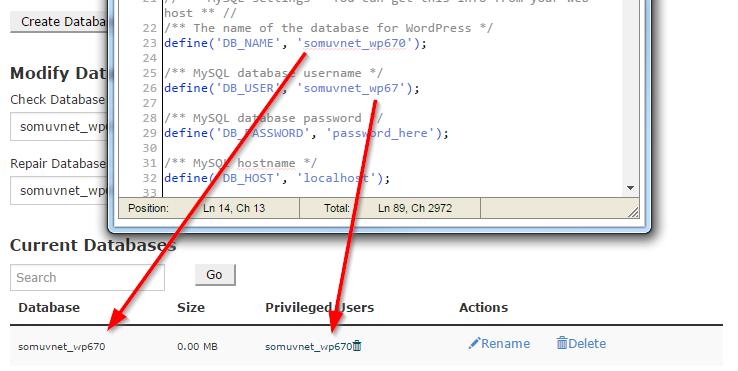 Khớp giá trị giữa file wp-config.php với thông tin thật sự trong màn hình Current Databases .