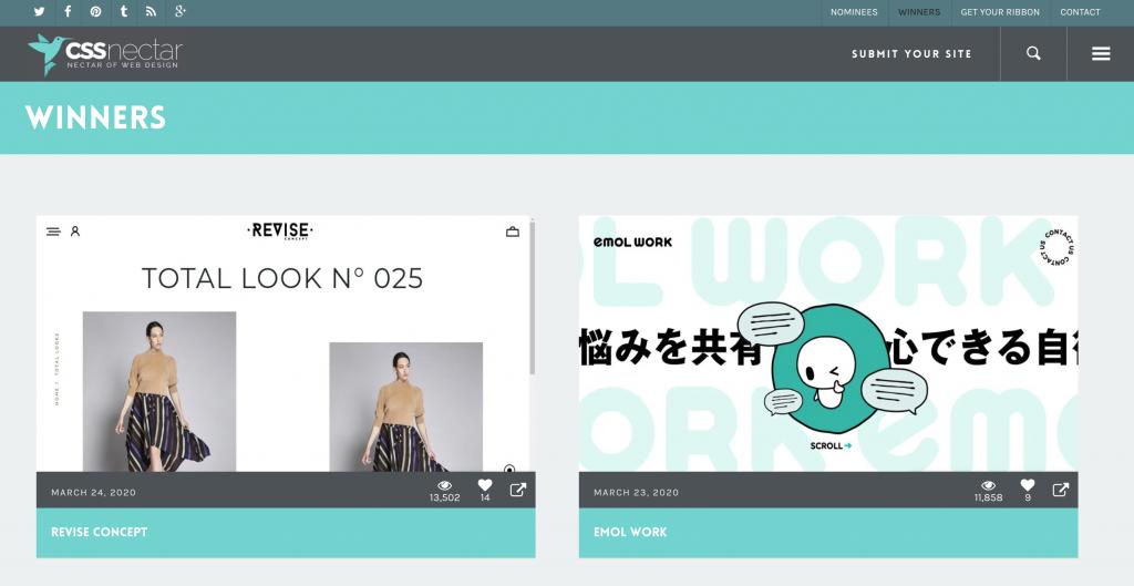 CSS Nectar, thư viện để tìm cảm hứng design web