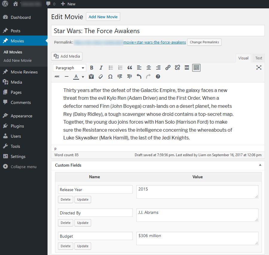 custom post field wordpress