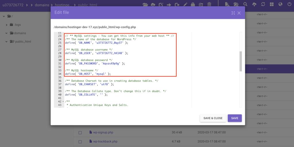 tìm DB_NAME, DB_PASSWORD, và DB_HOST trong file wp-config.php trên file manager