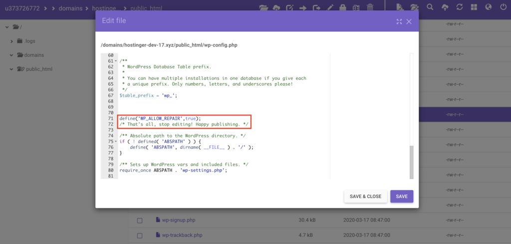 thêm code để sửa database WordPress