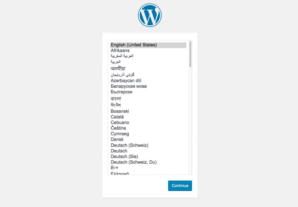 Docker WordPress màn hình cài đặt