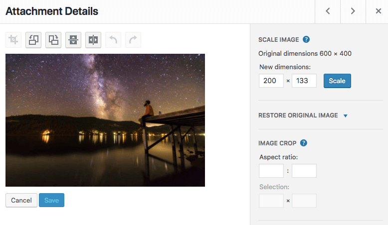 đổi kích thước ảnh WordPress