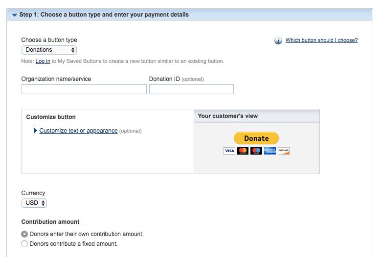Chọn nút PayPal donate button