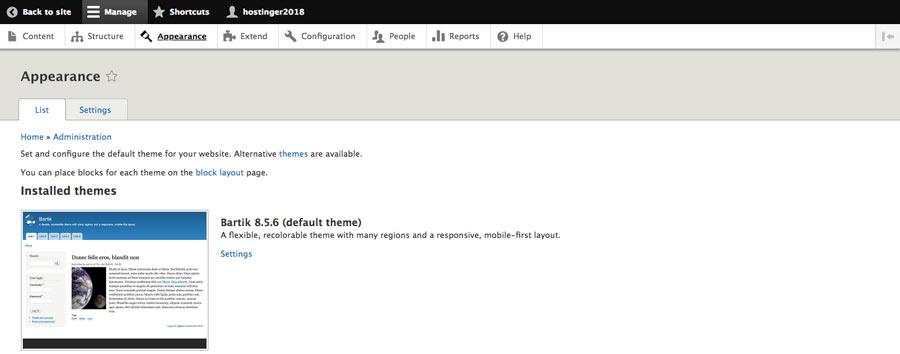 Theme menu trong Drupal dashboard