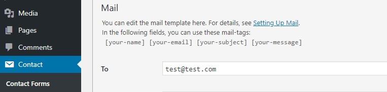 email nhận liên hệ