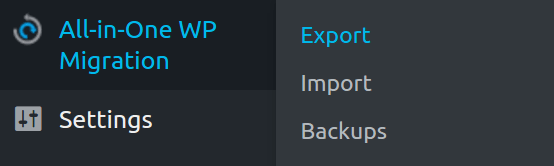 Export function in all-in-one WP plugin
