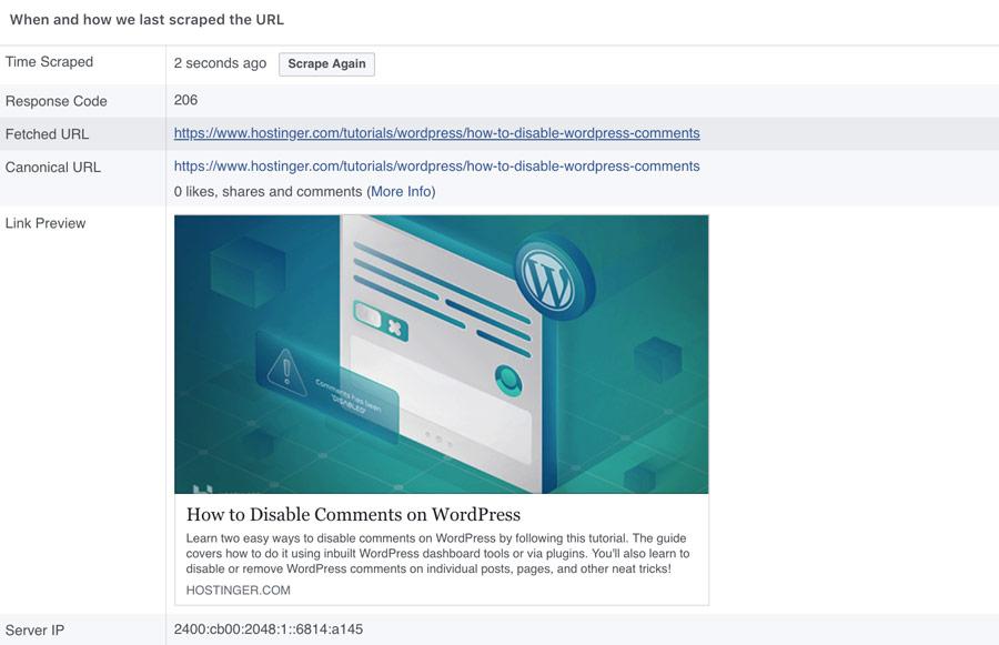 Facebook debugger link preview