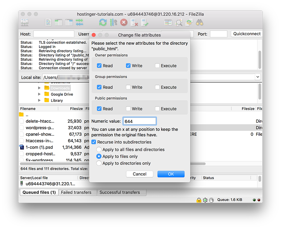 FileZilla Change File Permissions Only