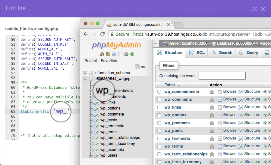 fix error establishing a database connection bằng table prefix