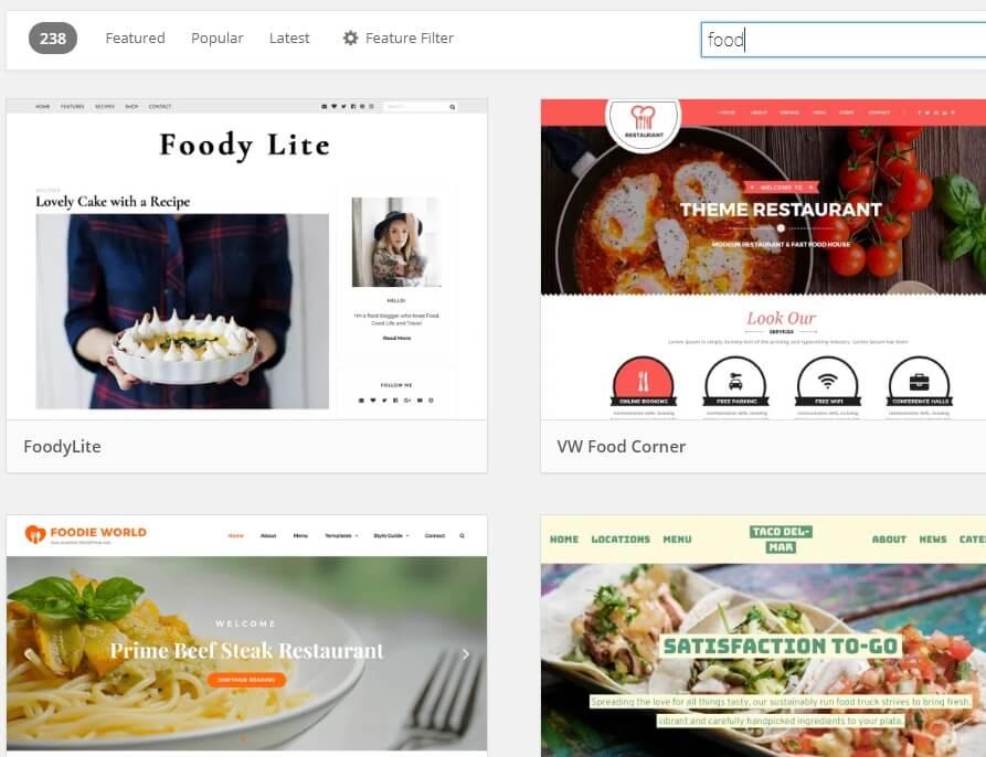 những theme cho food blog