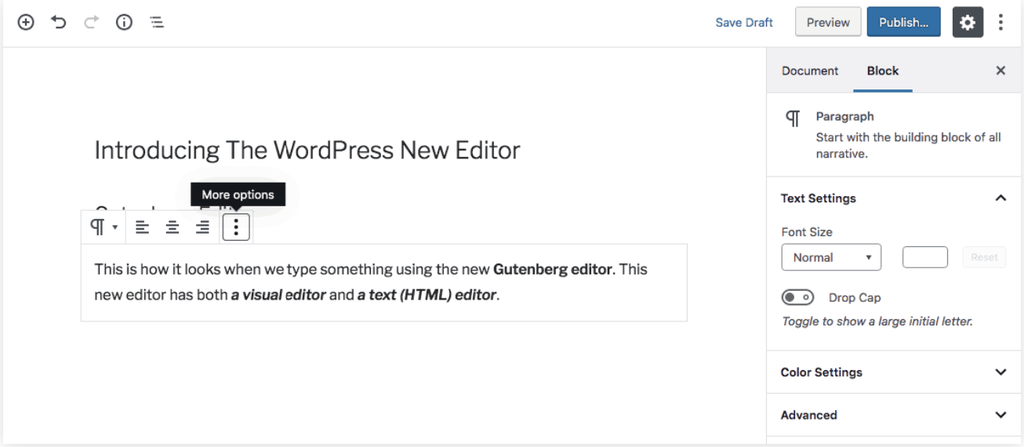 giao diện visual editor trên gutenberg