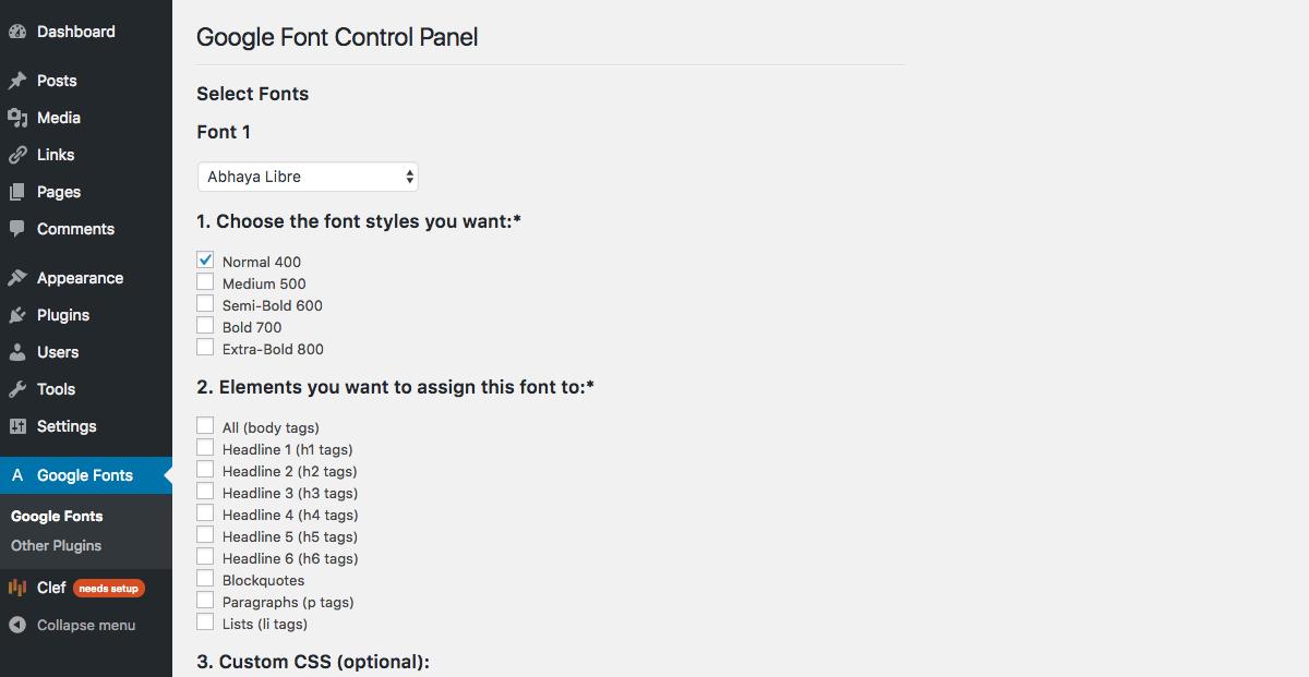 Google Fonts Control Panel