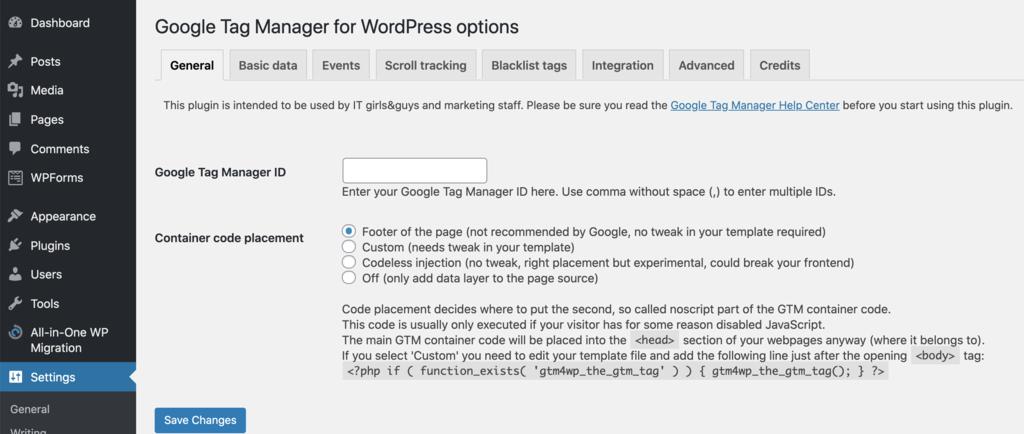 tùy chọn cài đặt google tag manager cho wordpress