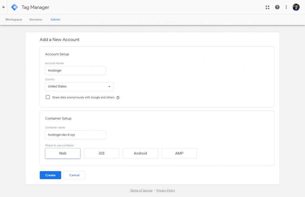 đăng ký tài khoản Google Tag Manager