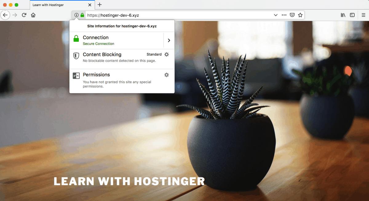 kết nối HTTPS đã được thiết lập với hình ổ khóa