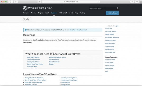 học WordPress trên WordPress.org codex