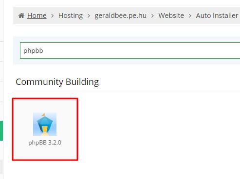 hostinger phpBB install location in auto installer