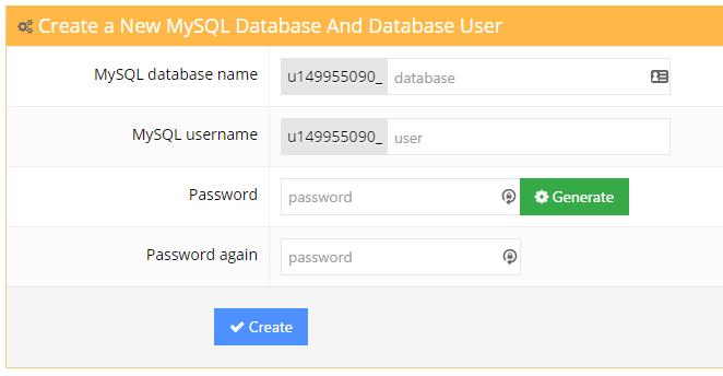 Hostinger MySQL Database creation