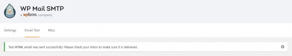 gửi mail kiểm tra SMTP thành công