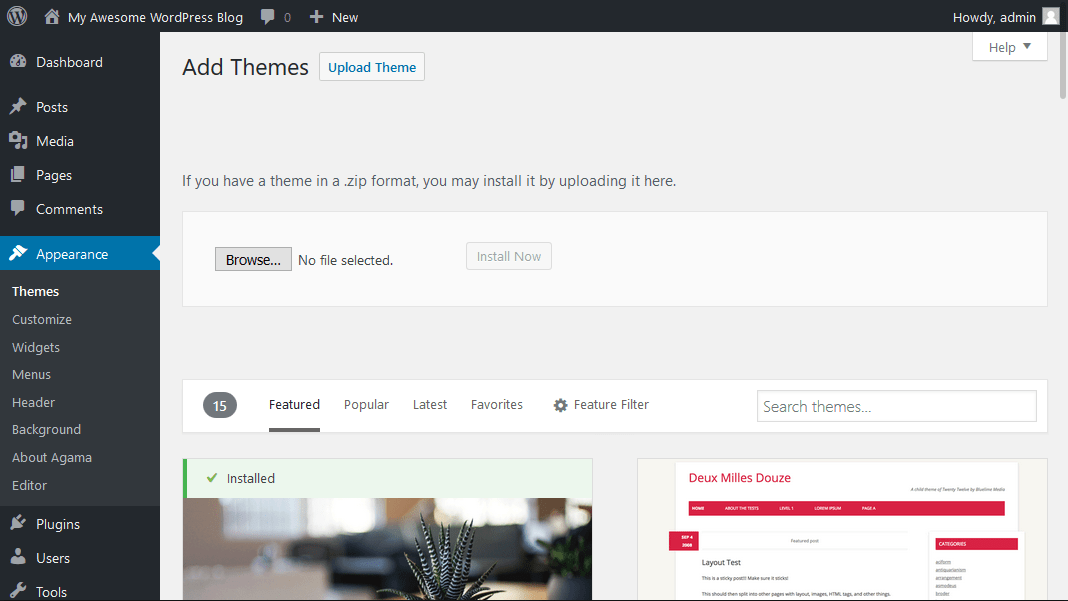 WordPress Upload Theme