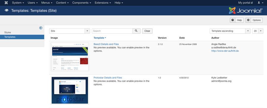 Joomla templates menu trong dashboard
