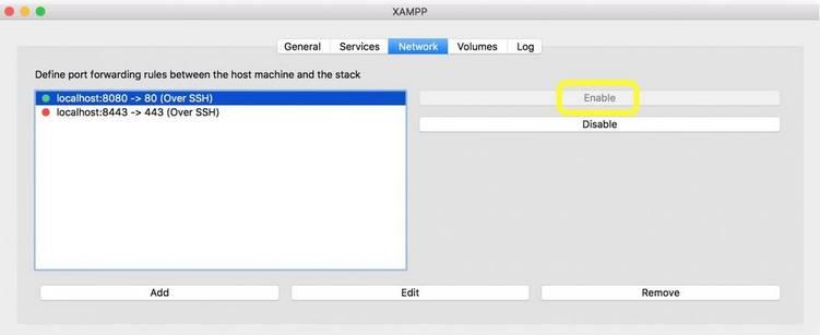 kích hoạt network localhost xampp
