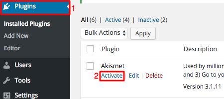 kích hoạt WordPress akismet