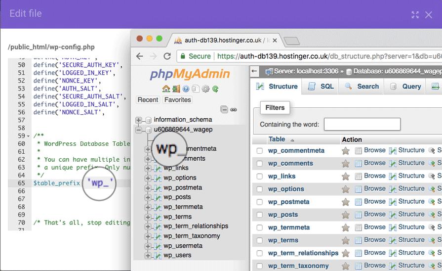 kiểm tra wordpress db prefix để fix error establishing a database connection