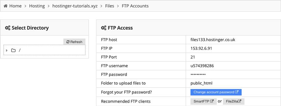 Thông tin đăng nhập FTP
