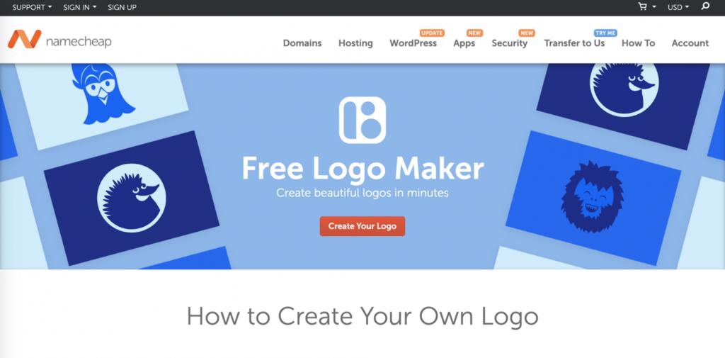 tạo logo bằng namecheap
