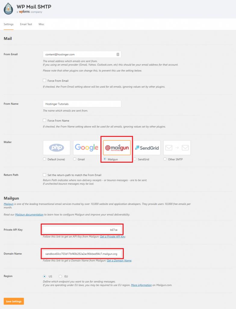 Điền thông tin cấu hình Mailgun vào WP Mail SMTP Plugin