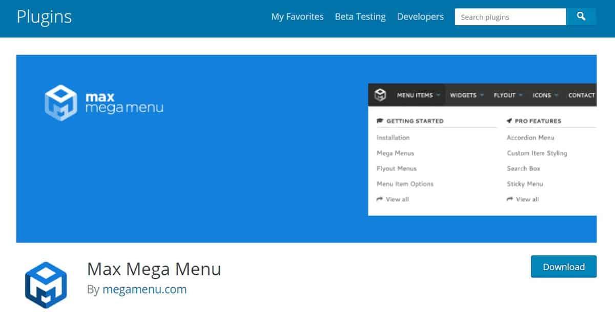 max mega menu là Plugin tạo menu cho WordPress thay thế bản gốc